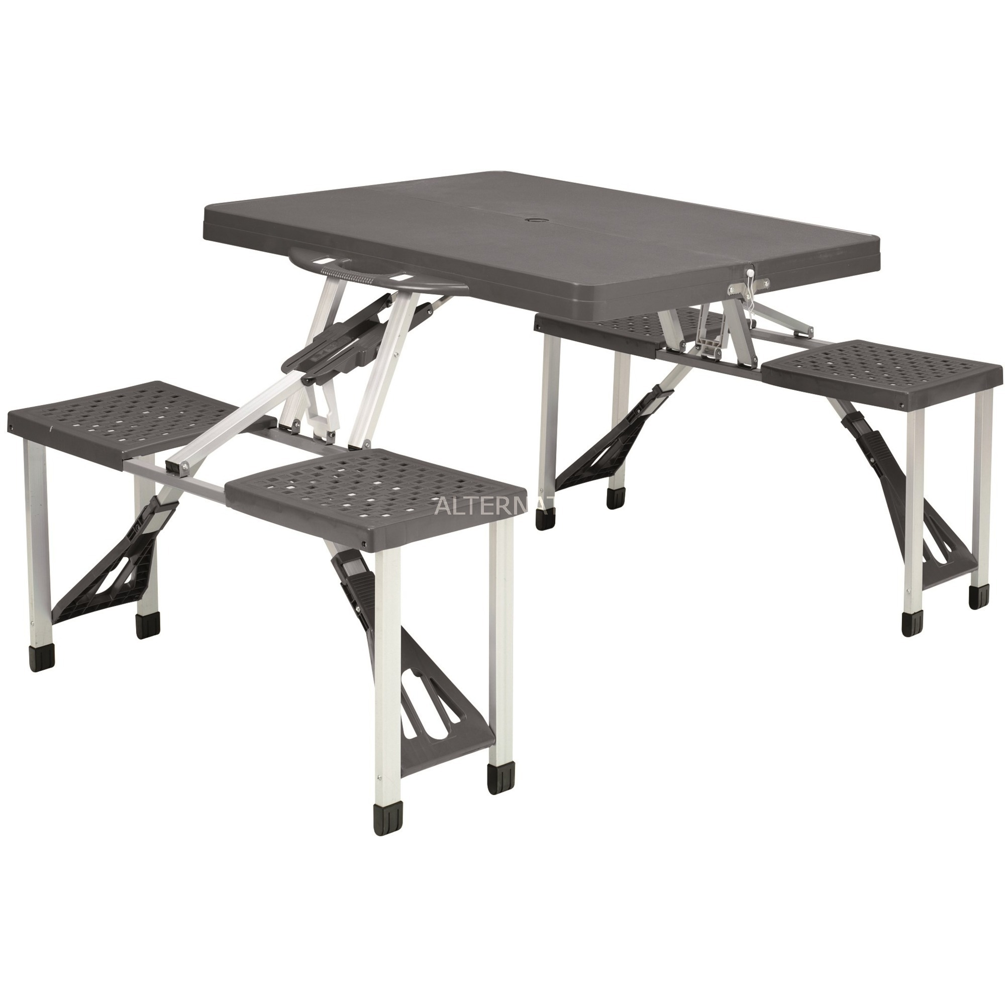 Easy Camp 670410 Table De Jardin Noir Argent Forme Rectangulaire Noir Noir Argent Aluminium Acier Forme Rectangulaire 840 Mm 1360 Mm 66 Cm