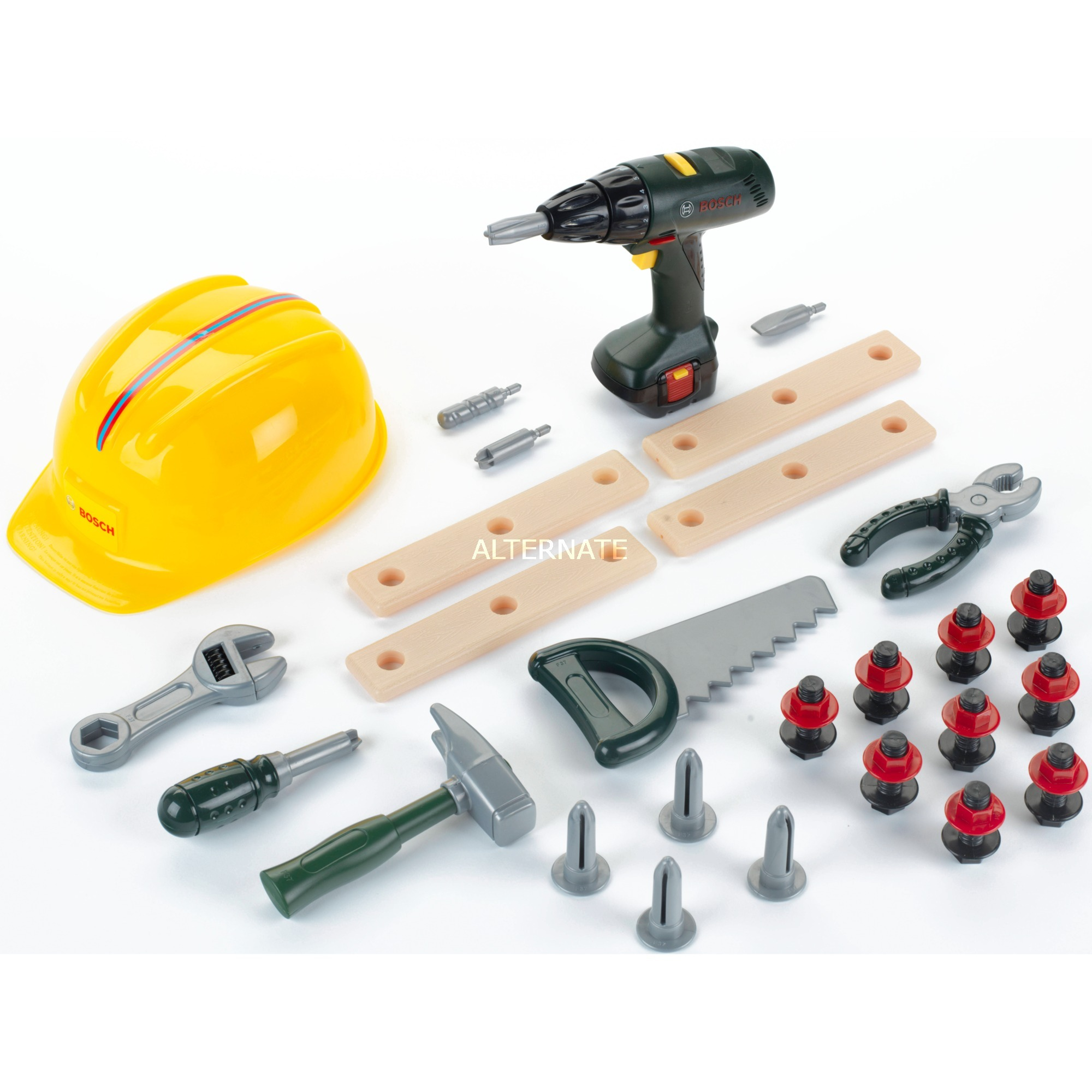 Jeu d'imitation - Grand set outils Bosch avec visseuse et casque de travail, Outils pour enfants