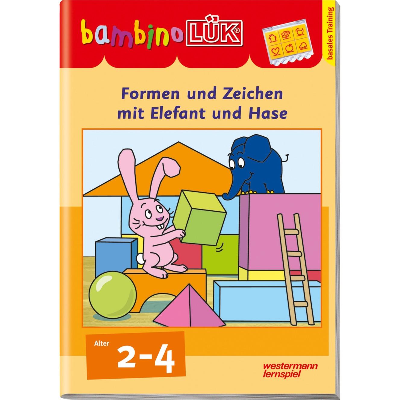 bambinoLÜK Formen und Zeichen mit Elefant und Hase Basales Training livre pour enfants, Manuel