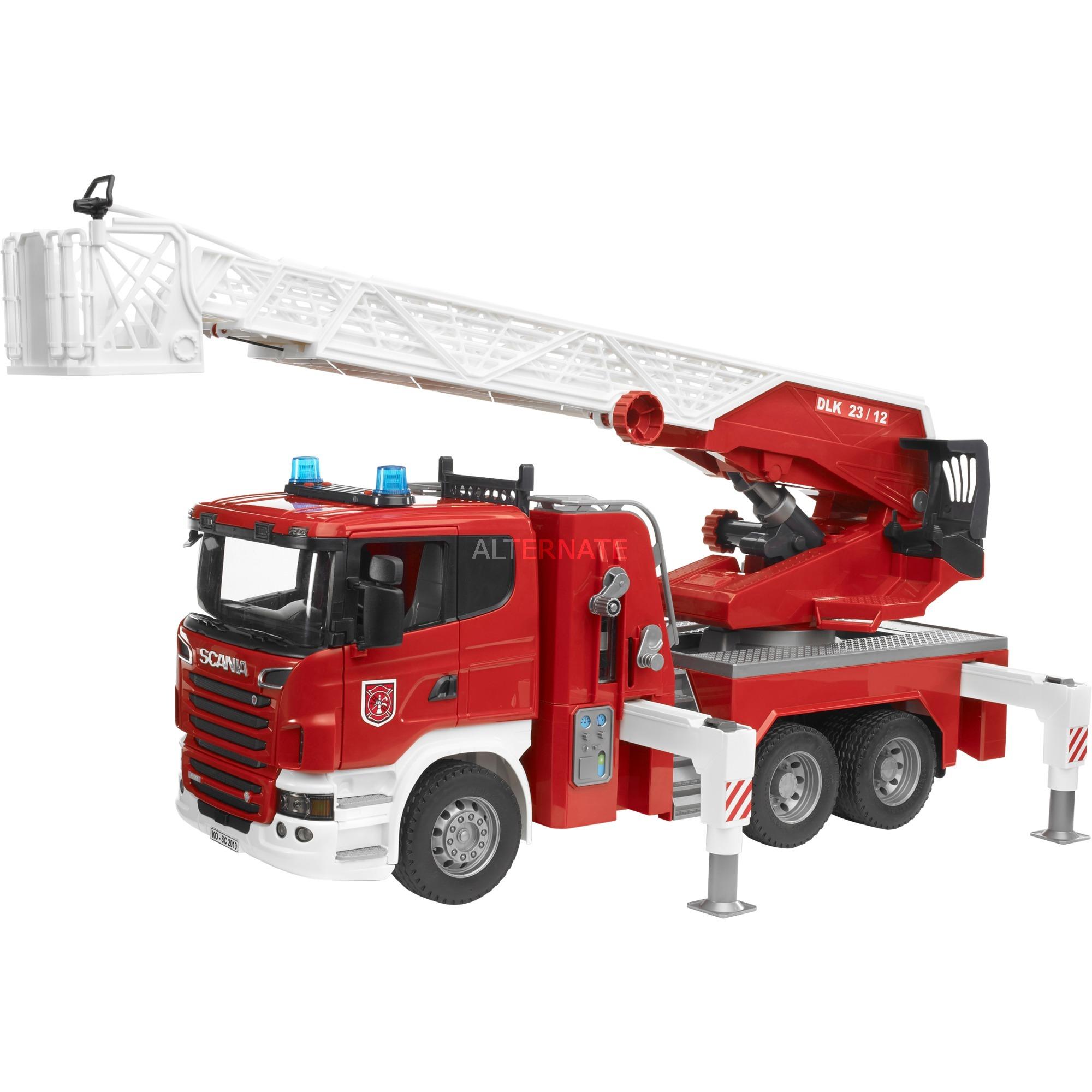 Véhicule Miniature - Camion - Pompier Scania R-Série avec Echelle et Pompe à Eau Fonctionnelles - Module Son et Lumière, Modèle réduit de voiture