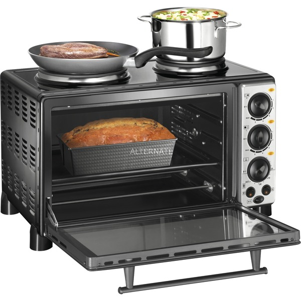 Compact Cooker Dessus de table Plaque scellée Noir, Acier inoxydable, Mini four