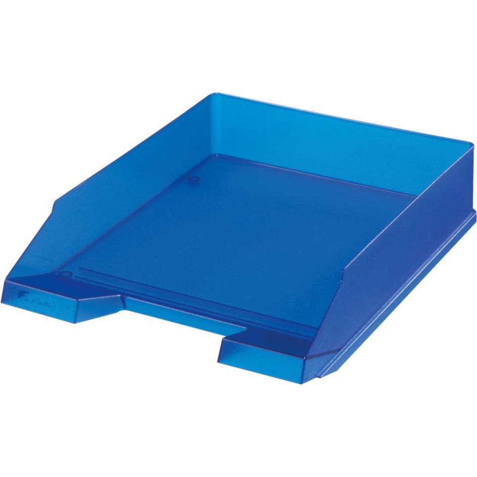 Herlitz 10493716 Bac De Rangement De Bureau Plastique Bleu Translucide Bac A Courrier Bleu Transparent Plastique Bleu Translucide 1 Piece S