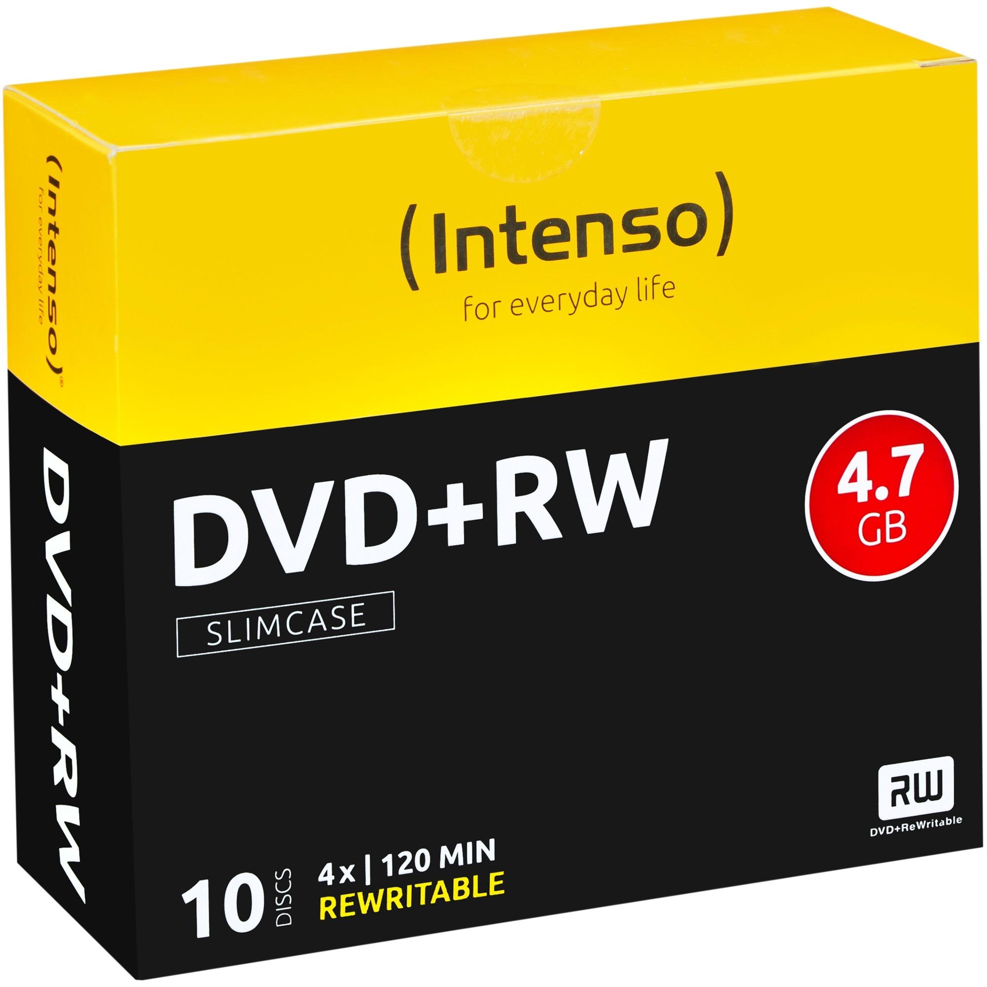 DVD+RW 4.7GB, 4x 4.7Go DVD+RW 10pièce(s), Support vierge DVD