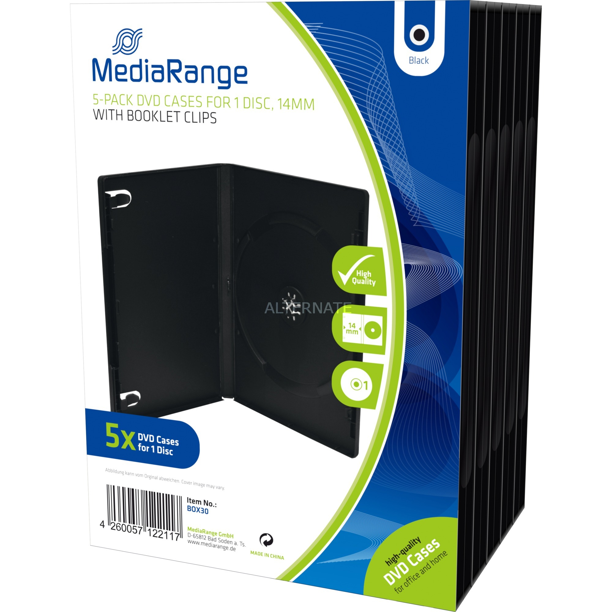 BOX30 Boîtier DVD 1disques Noir étui disque optique, Étui de protection