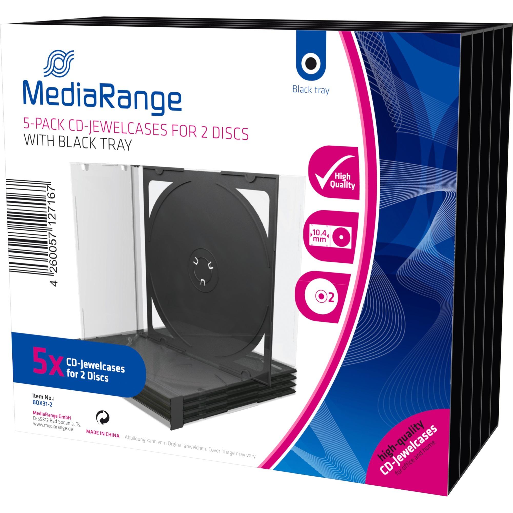 BOX31 Boîtier double 1disques Noir, Transparent étui disque optique, Étui de protection