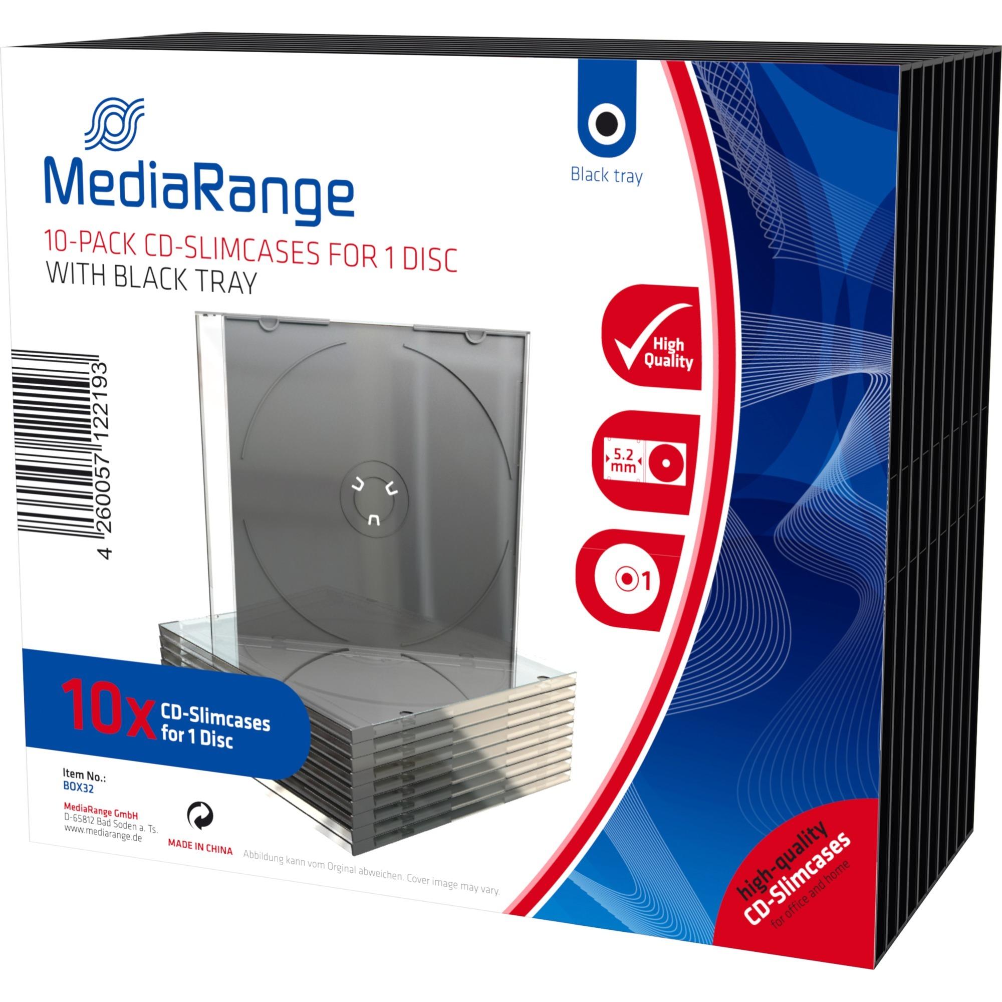 BOX32 Boîtier DVD 1disques Noir, Transparent étui disque optique, Étui de protection