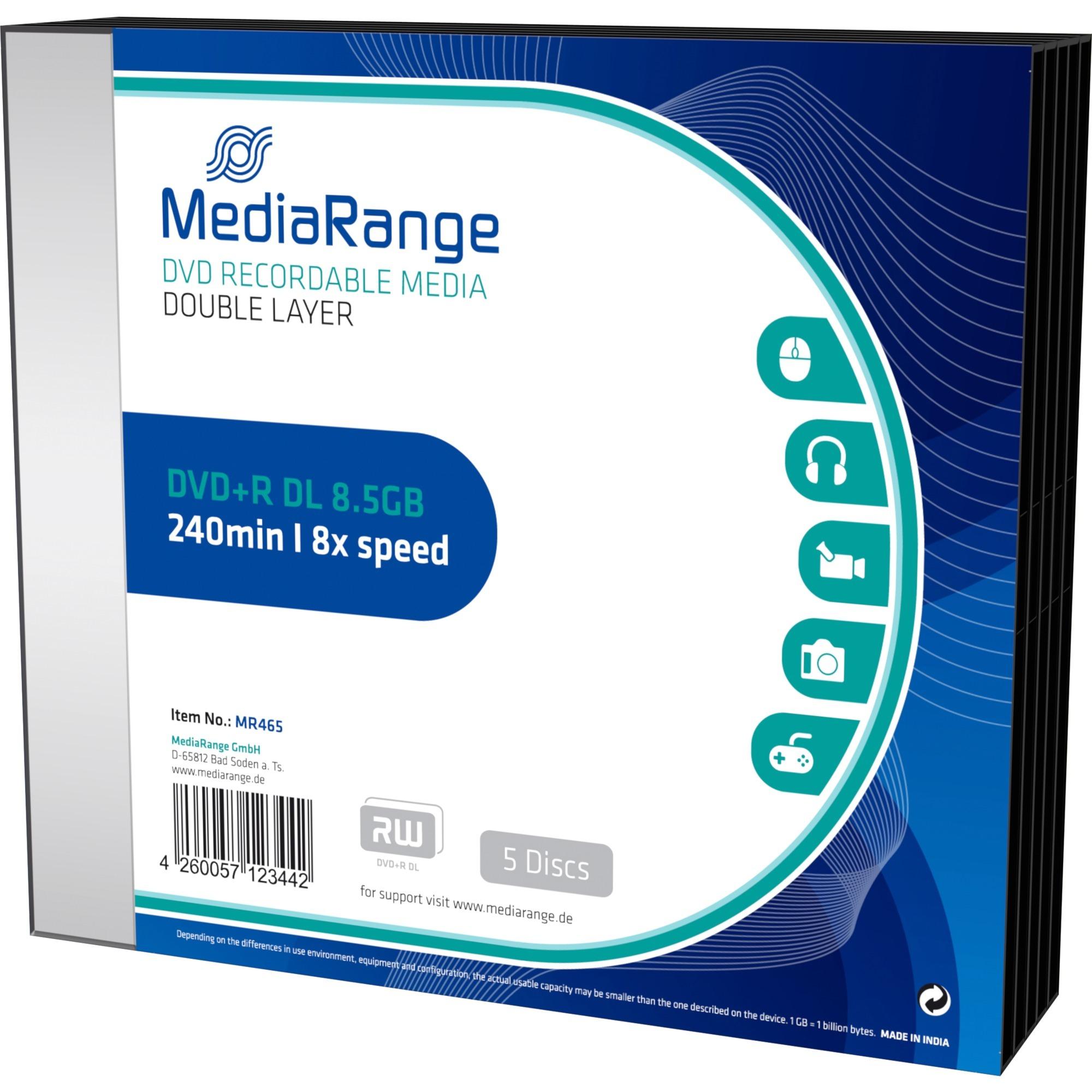 MR465 8.5Go DVD+R DL 5pièce(s) DVD vierge, Support vierge DVD