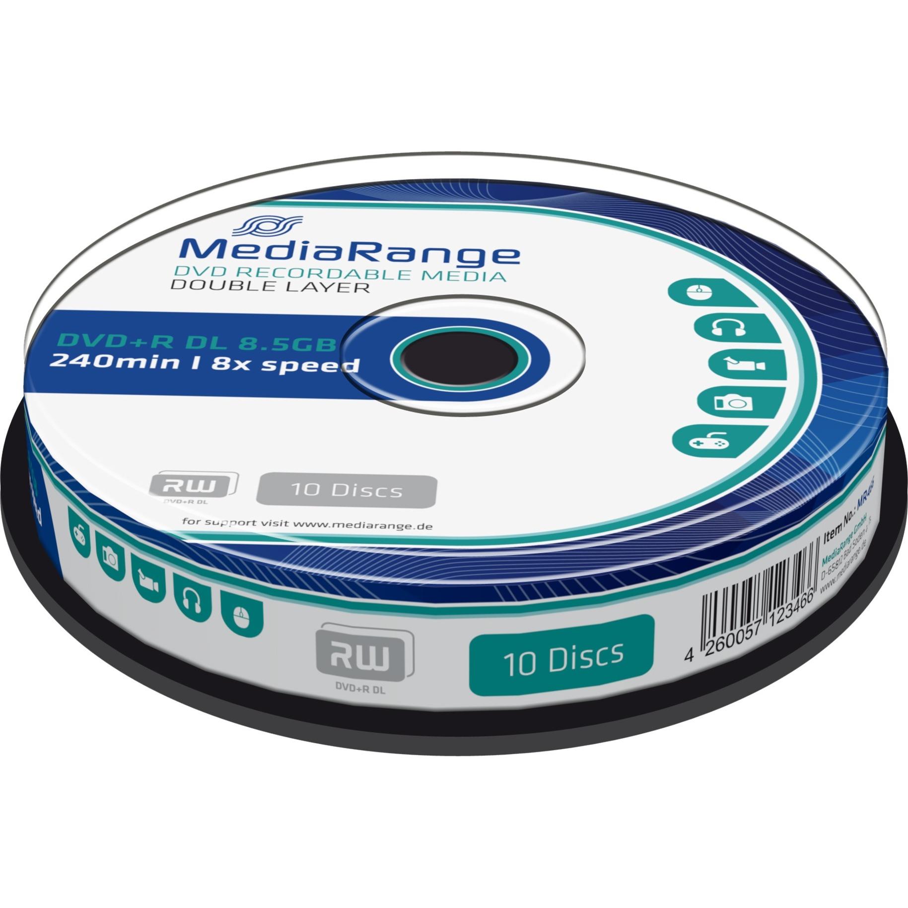 MR466 8.5Go DVD+R DL 10pièce(s) DVD vierge, Support vierge DVD