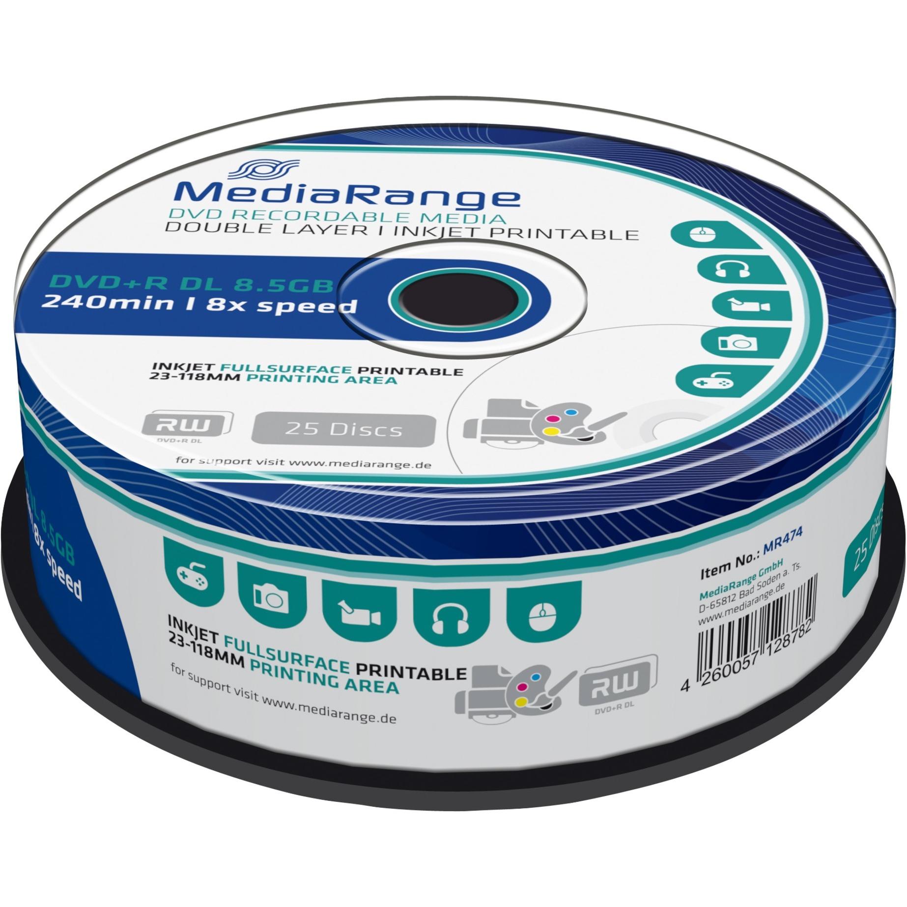 MR474 8.5Go DVD+R 25pièce(s) DVD vierge, Support vierge DVD