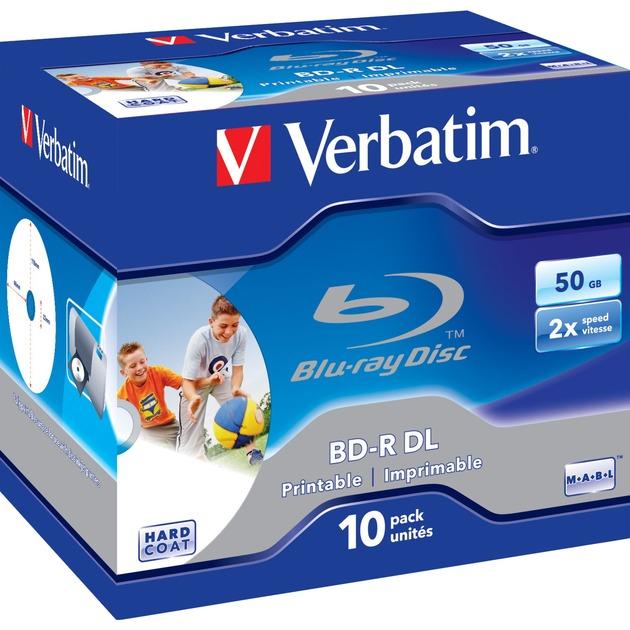 BD-R DL 50GB 6x Wide Printable 10 Pack Jewel Case No ID Brand BD-R 50Go 10pièce(s), Disques Blu-ray