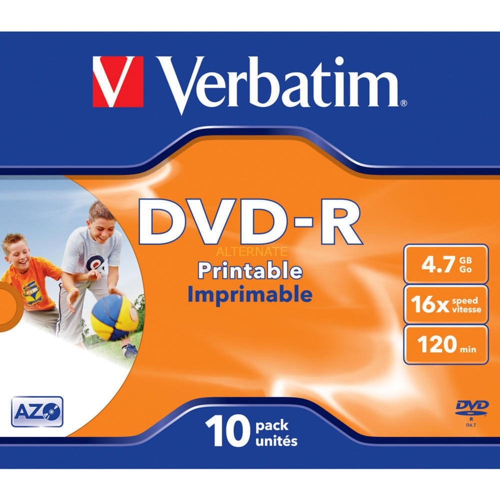 DVD+R 4,7Go Imprimable par jet d'encre - Avec marque, Support vierge DVD