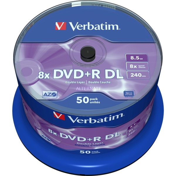 DVD+R Double Layer 8x Matt Silver 50pk Spindle 8.5Go DVD+R DL 50pièce(s), Support vierge DVD