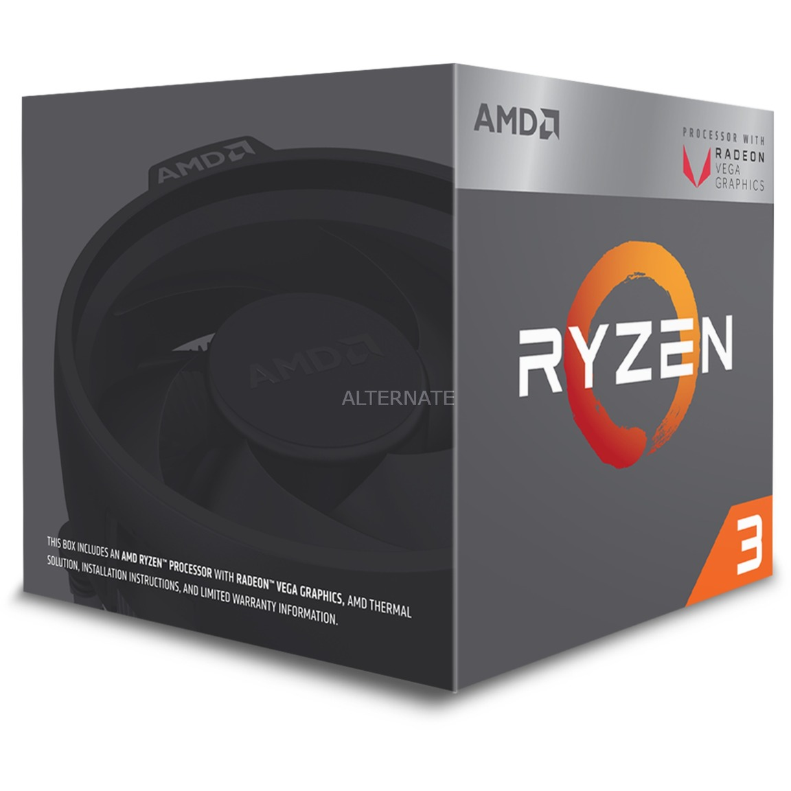 Ryzen 3 2200G, 3,5 GHz (3,7 GHz Turbo Boost), Processeur