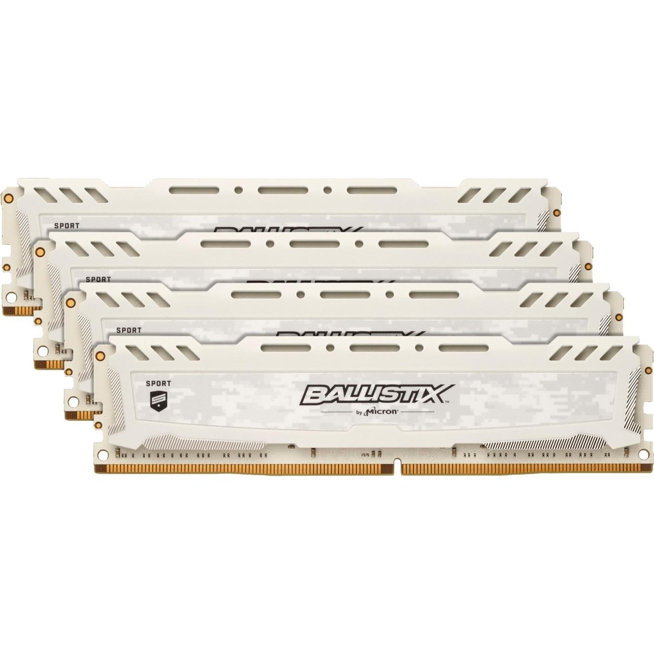 Ballistix Sport LT White 32 Go (2 x 16 Go) DDR4 2400 MHz CL17, Mémoire