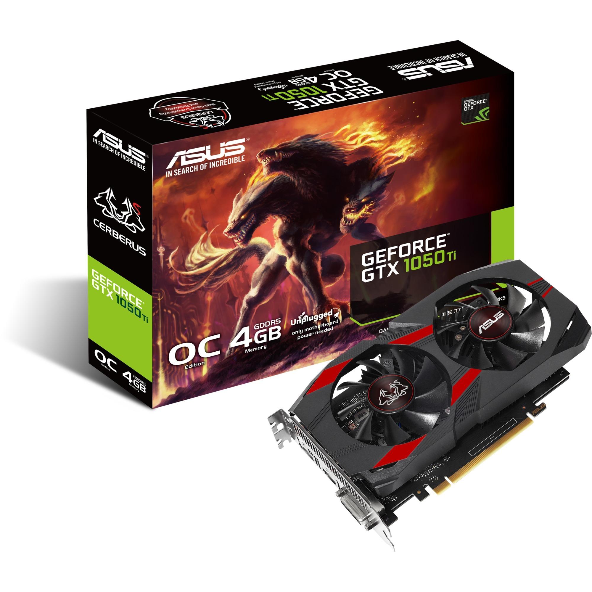CERBERUS-GTX1050TI-O4G GeForce GTX 1050 Ti 4Go GDDR5, Carte graphique