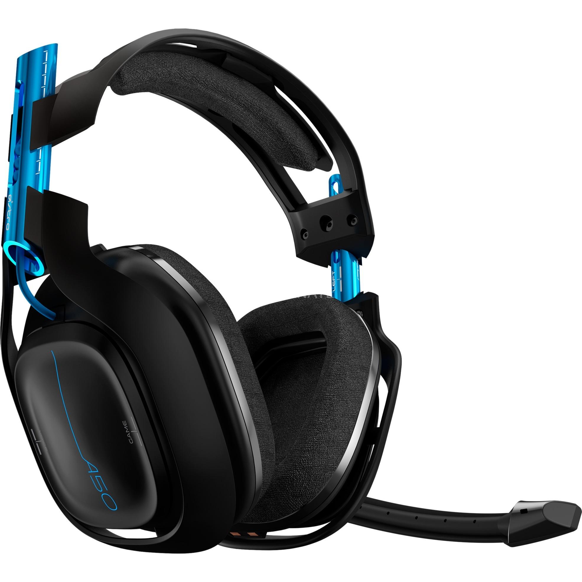 A50 Wireless Headset + Base Station Binaural Bandeau Noir, Bleu Casque audio, Casque d'écoute