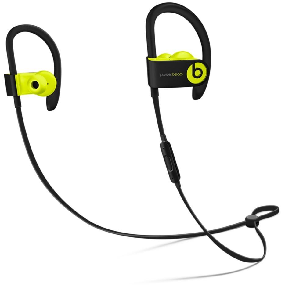 Powerbeats3 crochet auricullaire, écouteur Binaural Sans fil Noir, Jaune casque et micro, Casque d'écoute