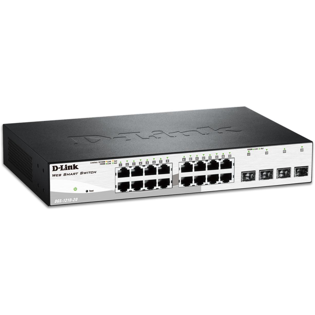DGS-1210-20 Managed network switch L2 1U Noir commutateur réseau