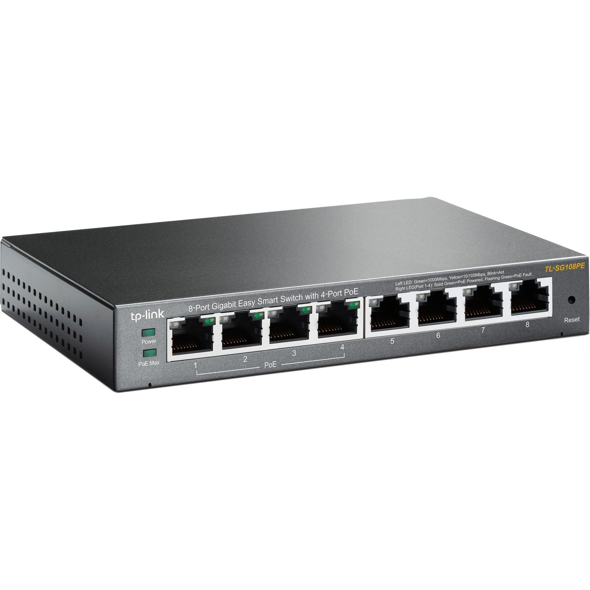 8-Port Gigabit Easy Smart Switch with 4-Port PoE Commutateur de réseau non géré Gigabit Ethernet (10/100/1000) Connexion Ethernet, supportant l'alimen