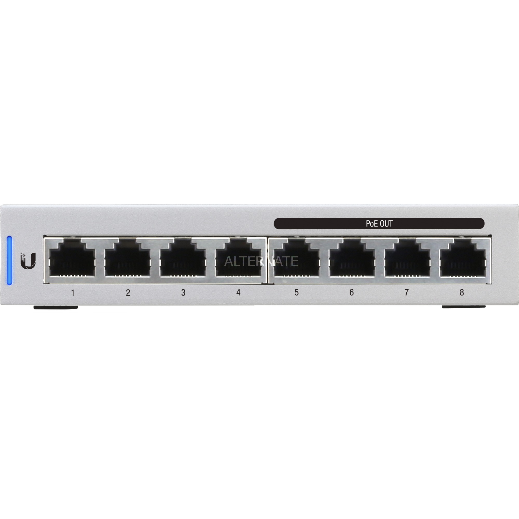 UniFi Switch 8 Managed network switch Gigabit Ethernet (10/100/1000) Connexion Ethernet, supportant l'alimentation via ce port (PoE) Gris, Commutateur