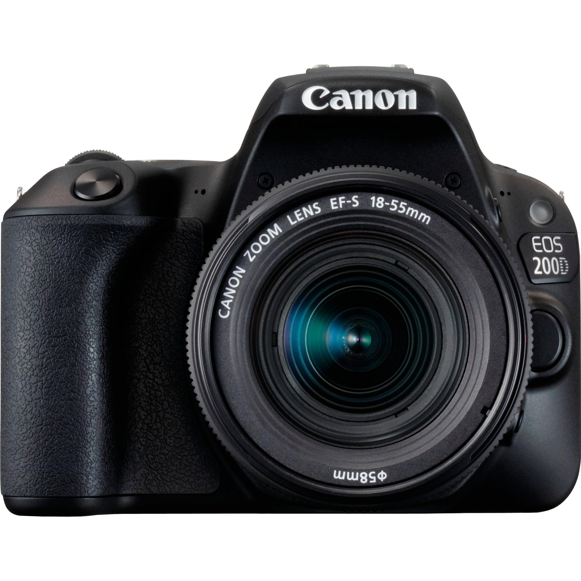 EOS 200D + EF-S 18-55mm f/3.5-5.6 III Kit d'appareil-photo SLR 24.2MP CMOS 6000 x 4000pixels Noir, Appareil photo numérique