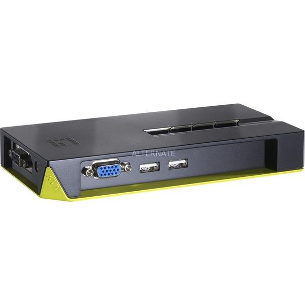 KVM-0422 Noir, Vert commutateur écran, clavier et souris, Commutateur KVM