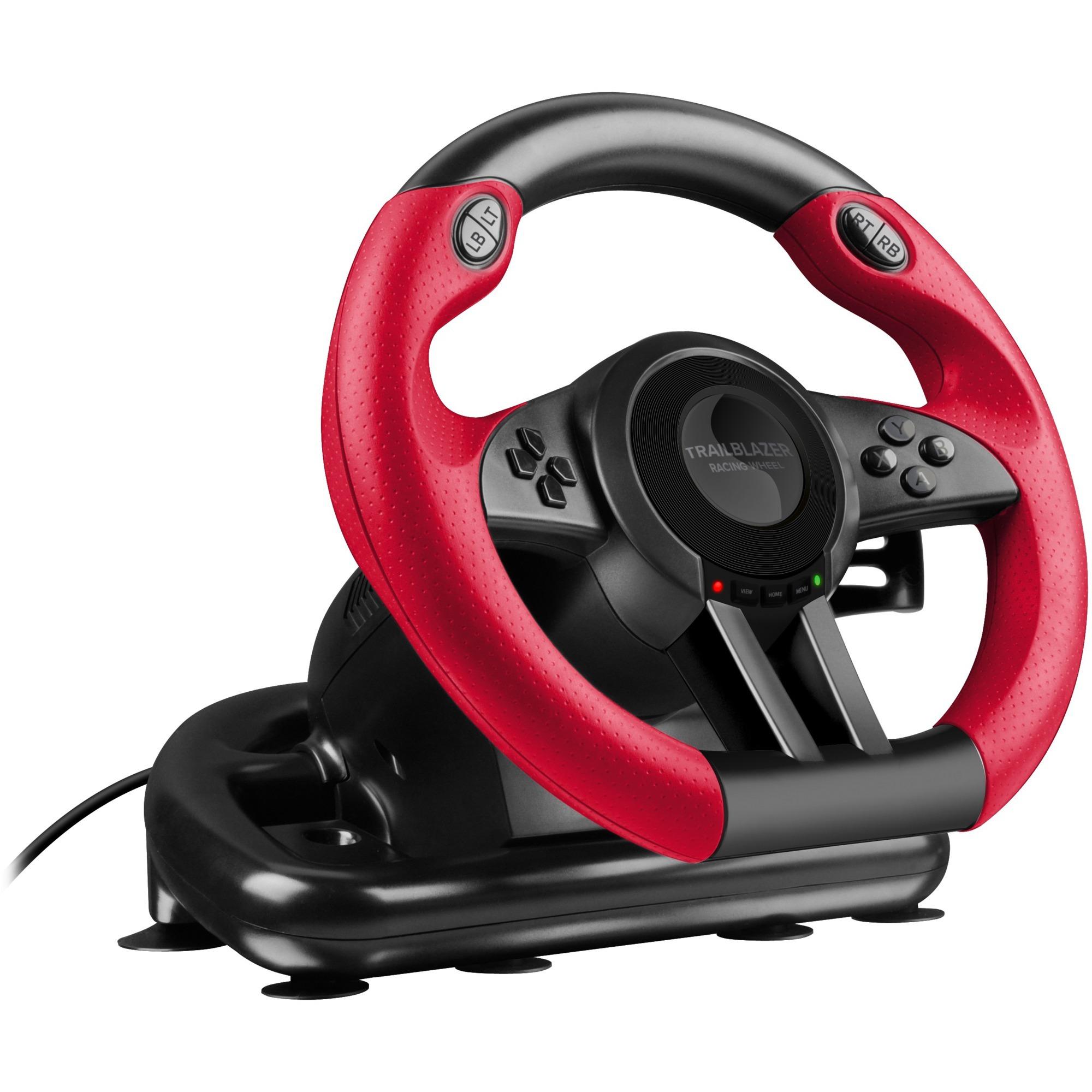 SL-250500-BK Volant + pédales PC, PlayStation 4, Playstation 3, Xbox One Noir, Rouge, Volant de direction
