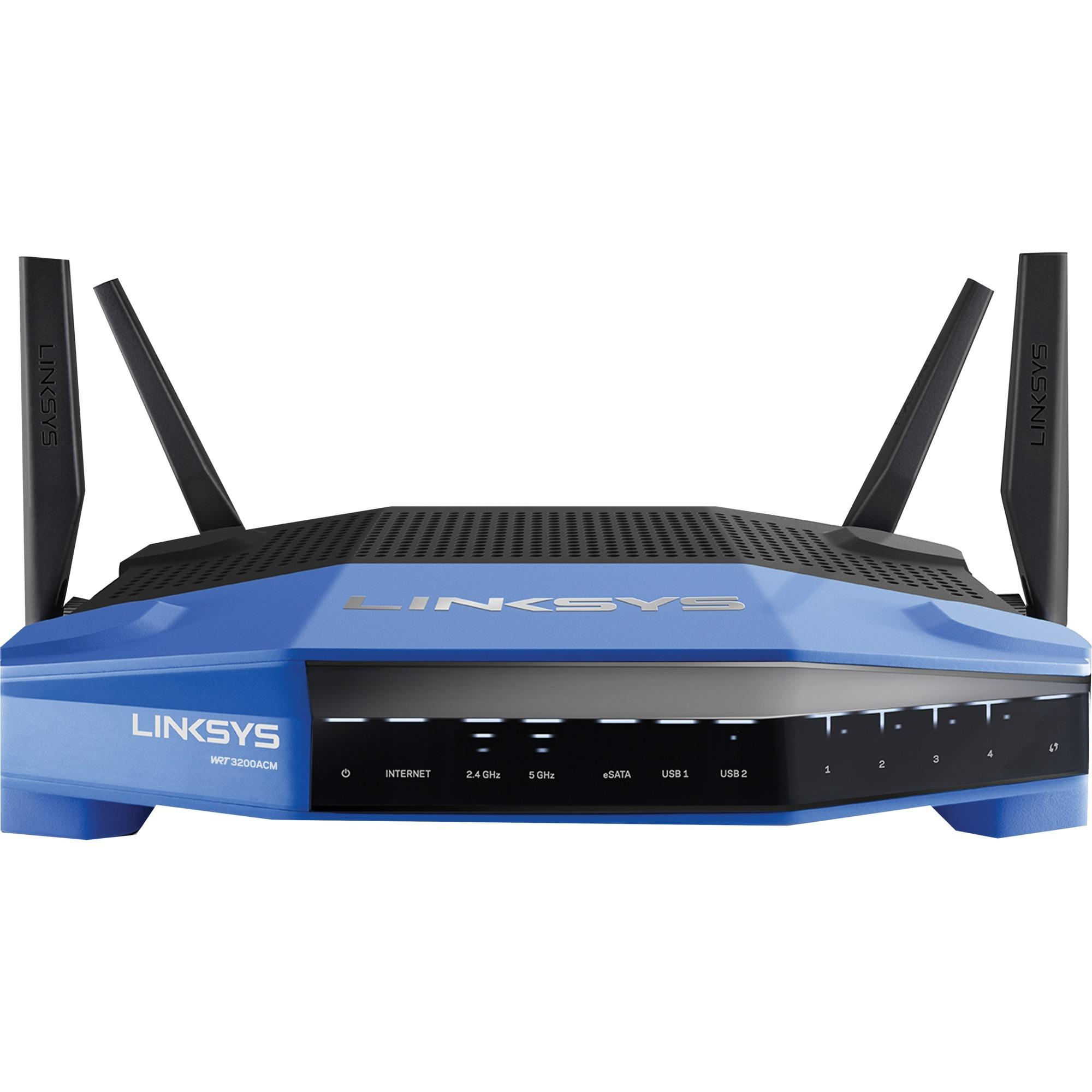 WRT3200ACM Bi-bande (2,4 GHz / 5 GHz) Gigabit Ethernet Noir, Bleu routeur sans fil
