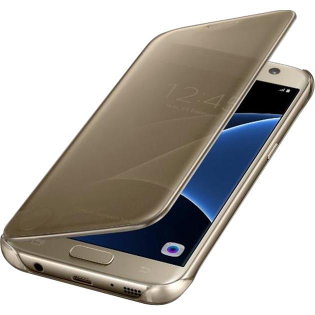 Clear View Etui pour Samsung Galaxy S7 Or, Étui de protection