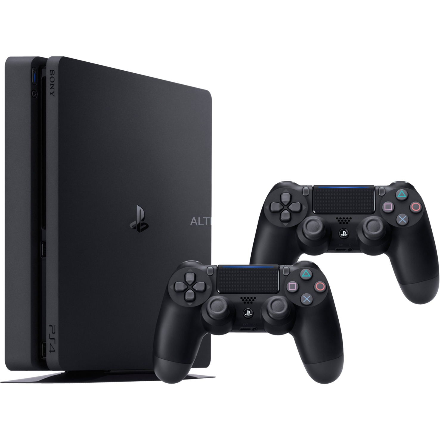 PlayStation 4 Slim 1TB + 2 Dualshock 4 V2 1000Go Wifi Noir, Console de jeu