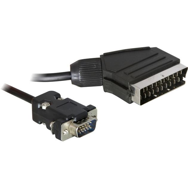 65028 2m SCART (21-pin) VGA (D-Sub) Noir câble vidéo et adaptateur