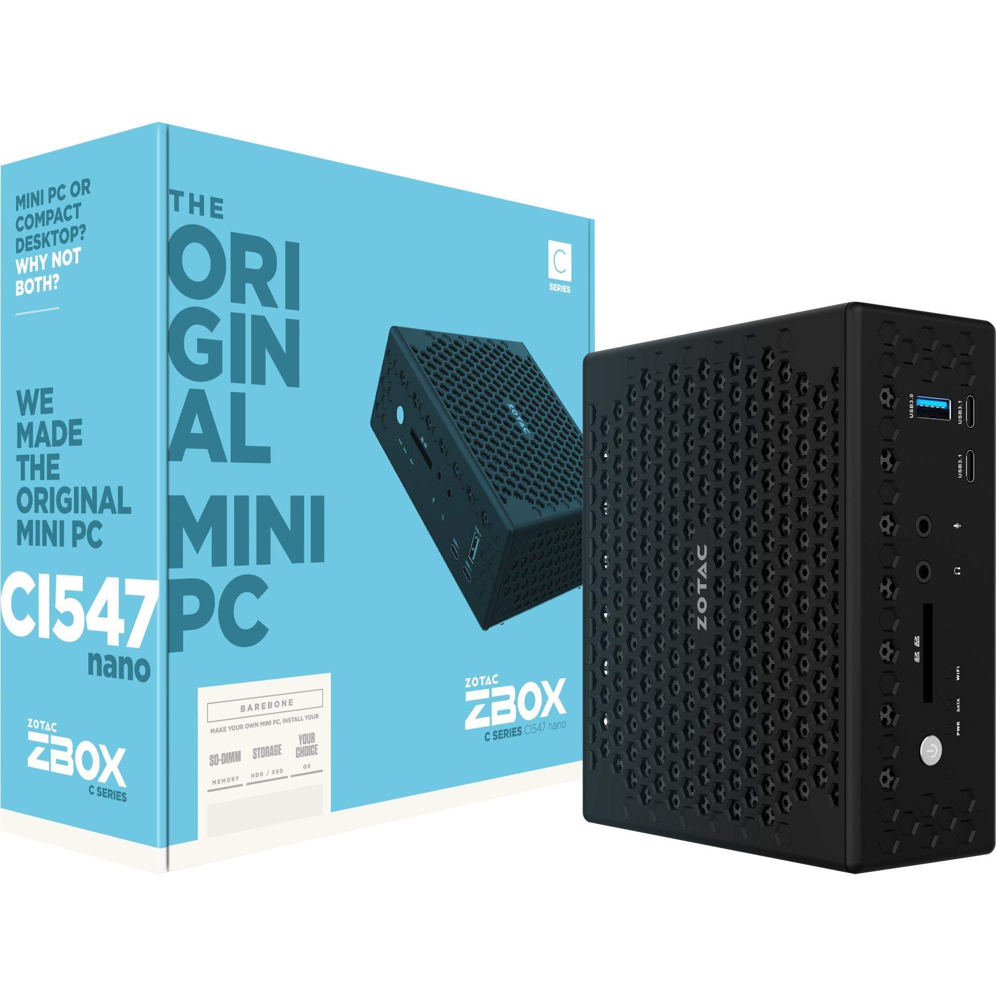CI547 Nano Intel SoC BGA 1356 2.50GHz i5-7200U PC de dimension 1L Noir, Barebone