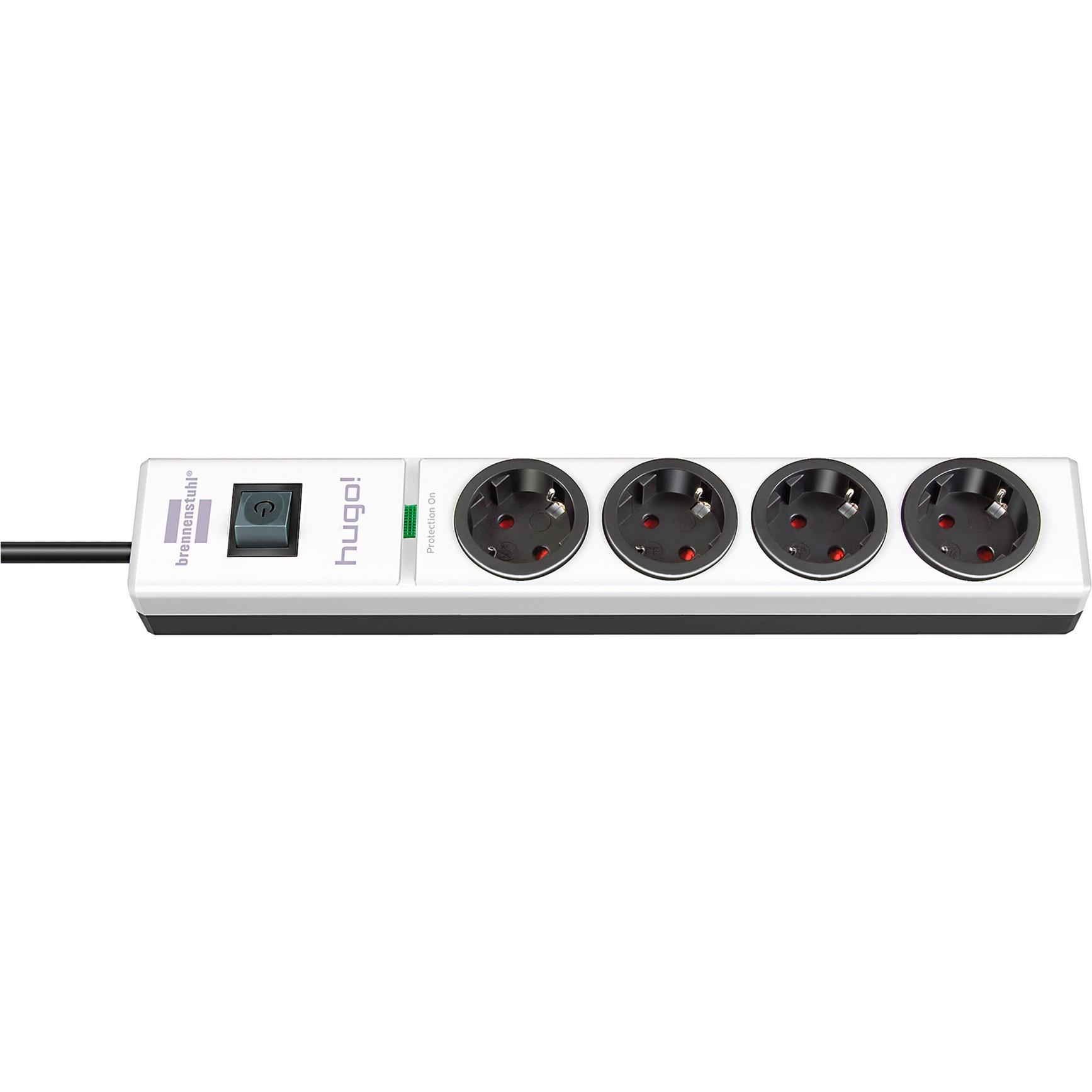 1150610304 4AC outlet(s) 2m Noir, Blanc protection surtension, Multiprise