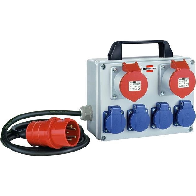 BKV 2/4 T IP44 6AC outlet(s) Noir, Bleu, Gris, Rouge unité de distribution d'énergie, Multiprise