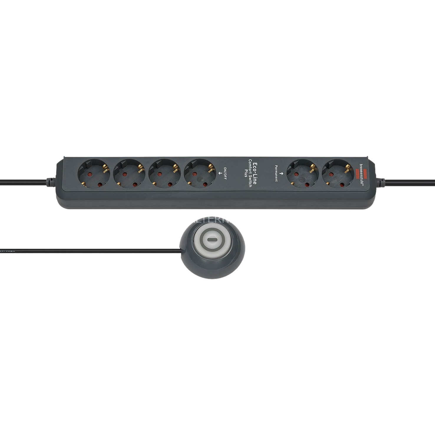 Eco-Line Comfort Switch 6AC outlet(s) 2m Anthracite multiprise
