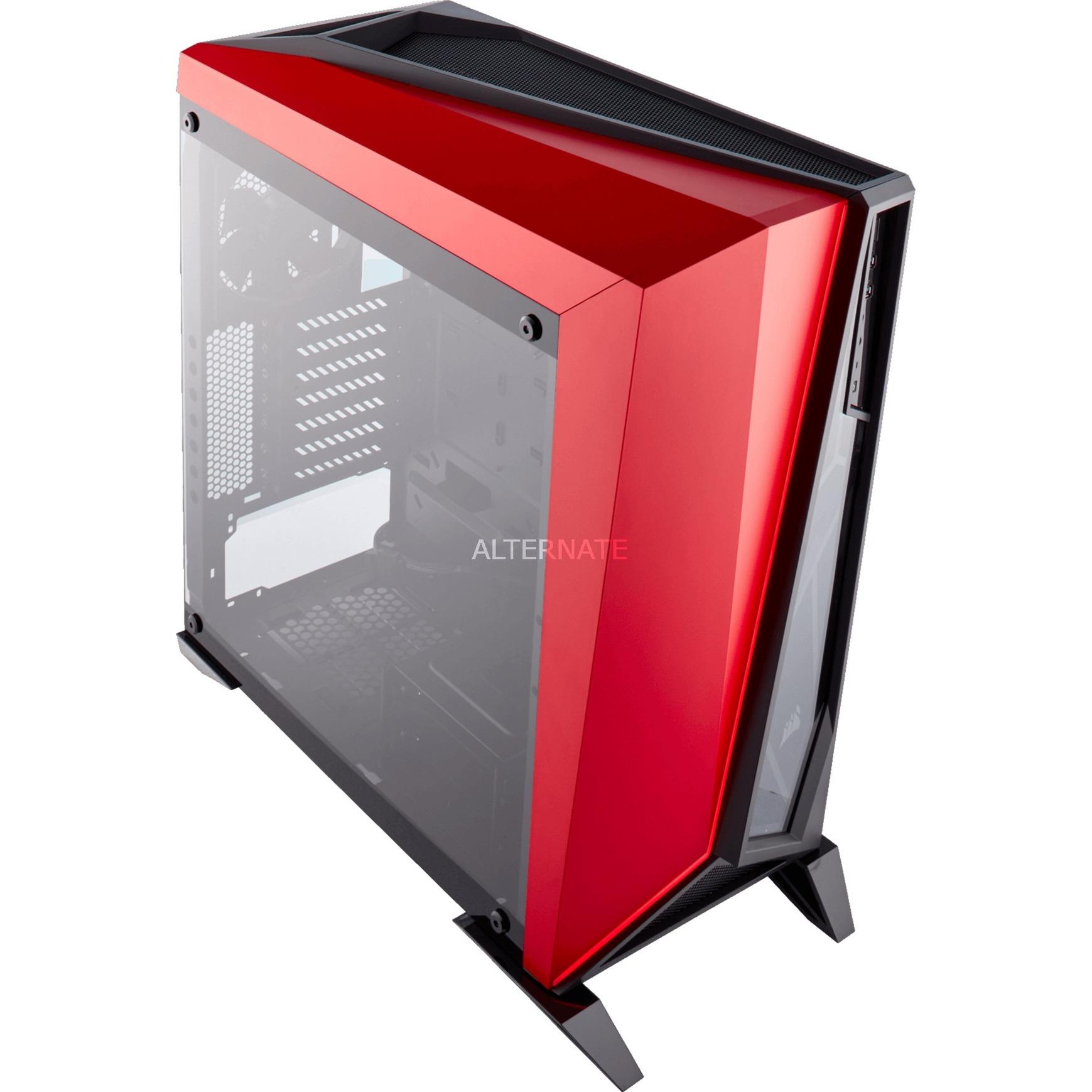 Carbide SPEC-OMEGA Boîtier Midi-tour Noir, Rouge unité centrale, Châssis mini-tour