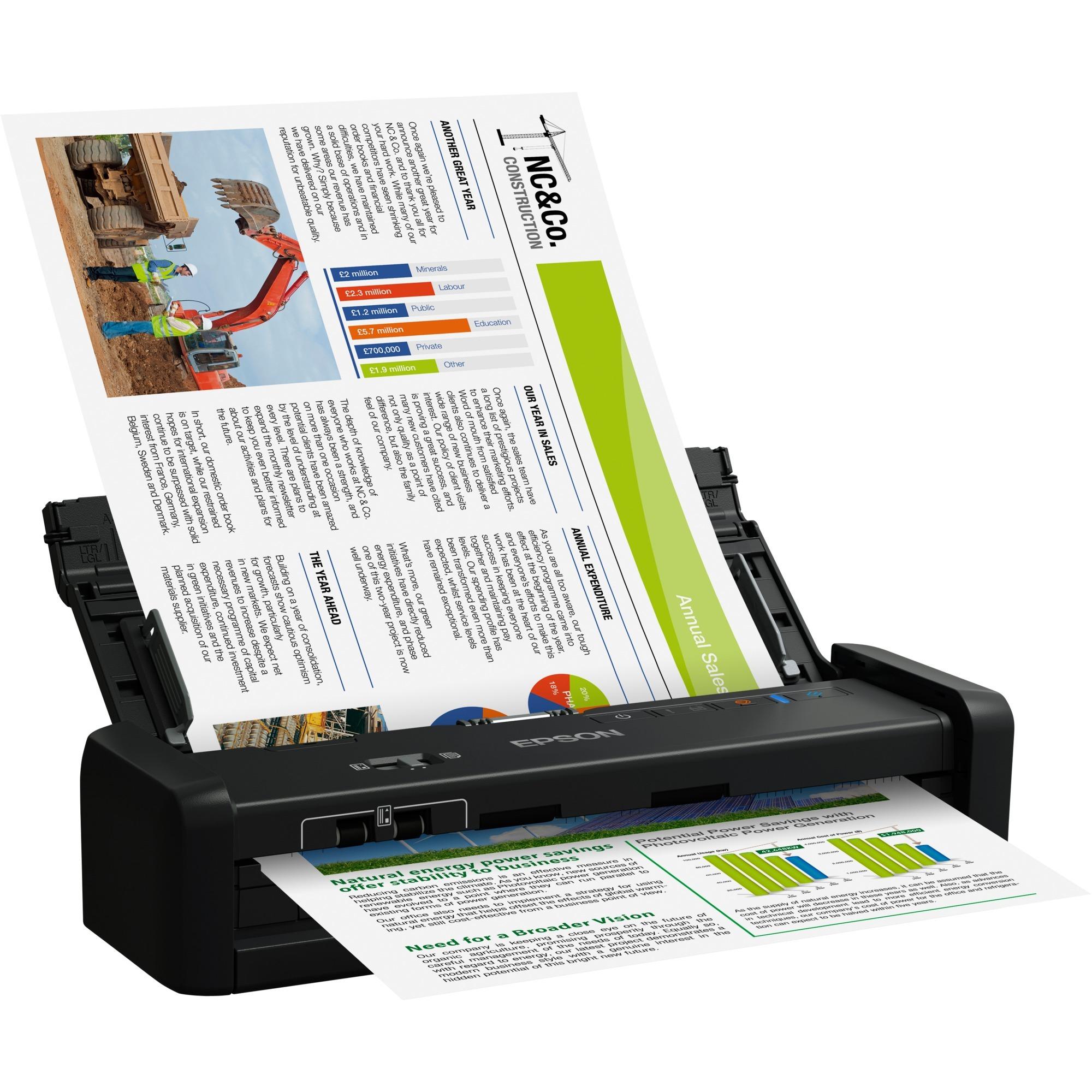 WorkForce DS-360W Scanner ADF 600 x 600DPI A4 Noir, Scanner à feuilles