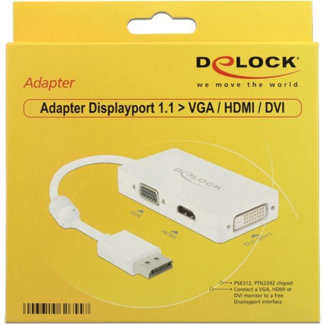 0.16m DisplayPort/VGA+HDMI+DVI-D 0.16m DisplayPort VGA + HDMI + DVI Blanc, Adaptateur
