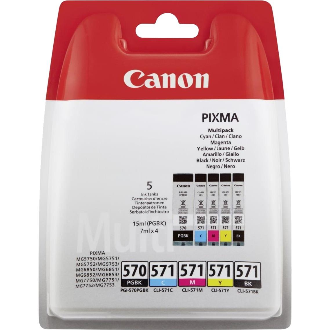 PGI-570/CLI-571 PGBK/C/M/Y/BK 7ml 15ml Noir, Cyan, Pigment noir, Jaune, Magenta cartouche d'encre