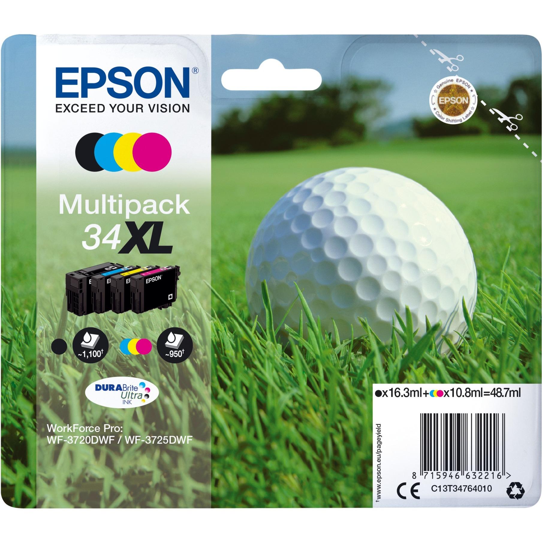 Multipack 4-colours 34XL DURABrite Ultra Ink 10.8ml 16.3ml Noir, Cyan, Magenta, Jaune cartouche d'encre