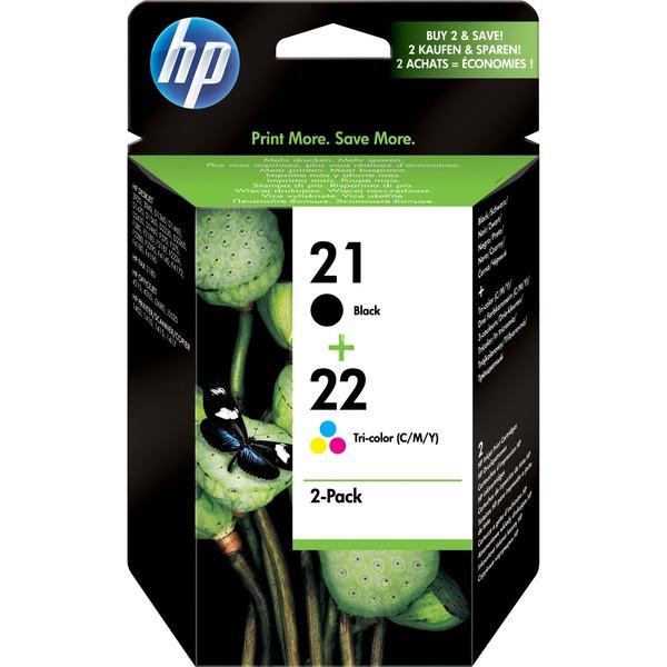 21 (noir) / 22 (trois couleurs) pack de 2 cartouches d'encre authentiques