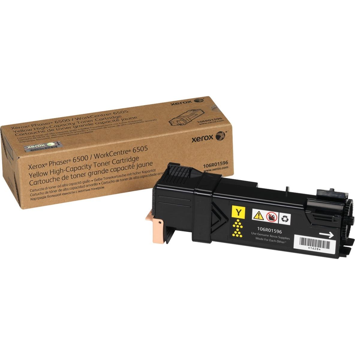 Phaser 6500/WorkCentre 6505, Cartouche de toner Jaune grande capacité (2 500 pages), Amérique du Nord, EEA