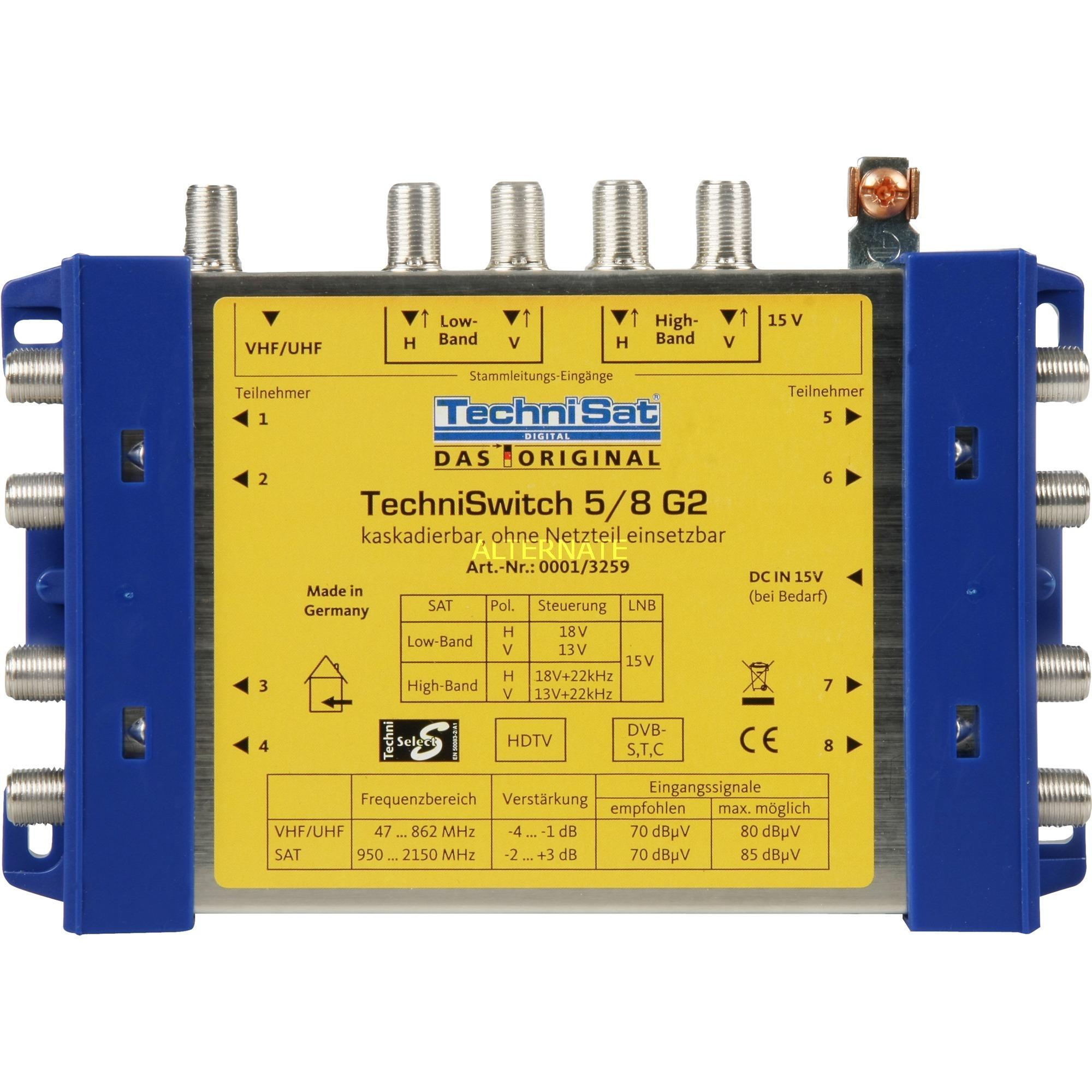 TechniSwitch 5/8 G2 Séparateur/diviseur de câbles Bleu, Jaune, Multi commutateur