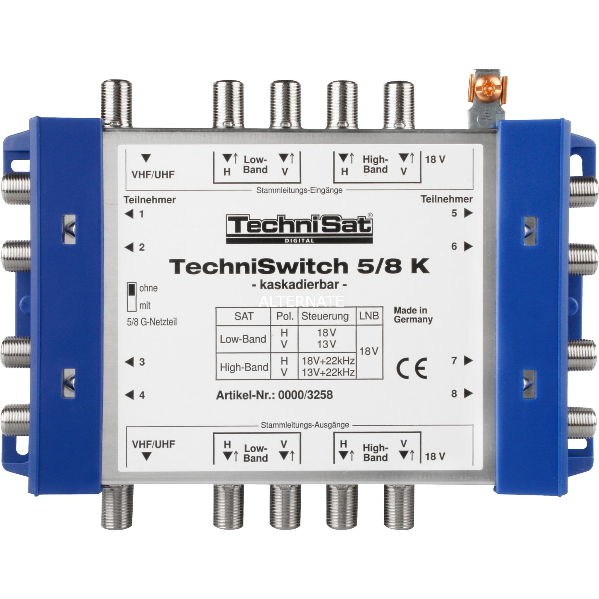 TechniSwitch 5/8 K Gris, Jaune adaptateur et connecteur de câbles, Multi commutateur